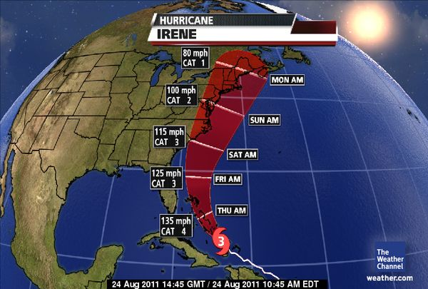 Hurricane Irene Predicted Path